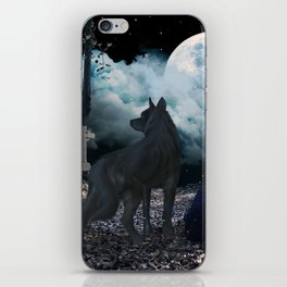 The lonely wolf in the dark night iPhone Skin