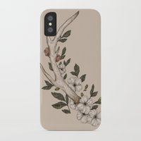 antler iPhone & iPod Cases featuring Floral Antler by Jessica Roux