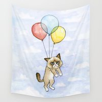 meme Wall Tapestries featuring Cat With Balloons Grumpy Birthday Meme by Olechka