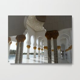 Sheik Zayed Mosque Abu Dhabi - corridor Metal Print
