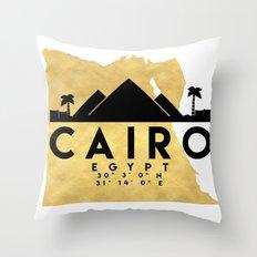 CAIRO EGYPT SILHOUETTE SKYLINE MAP ART Throw Pillow