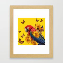 TROPICAL BLUE MACAW & MONARCH BUTTERFLIES SUNFLOWER ART Framed Art Print