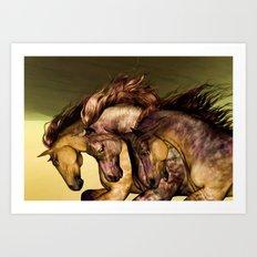 HORSES-Gunmetal Art Print