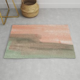 Watercolor Red Green Pattern Pastel Colors Rug