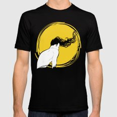 Yellow MEDIUM Mens Fitted Tee Black