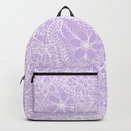 Modern trendy white floral lace hand drawn pattern on pastel lavender Backpack