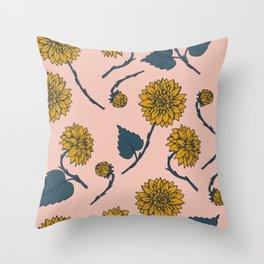 Dahlia print, pink Throw Pillow