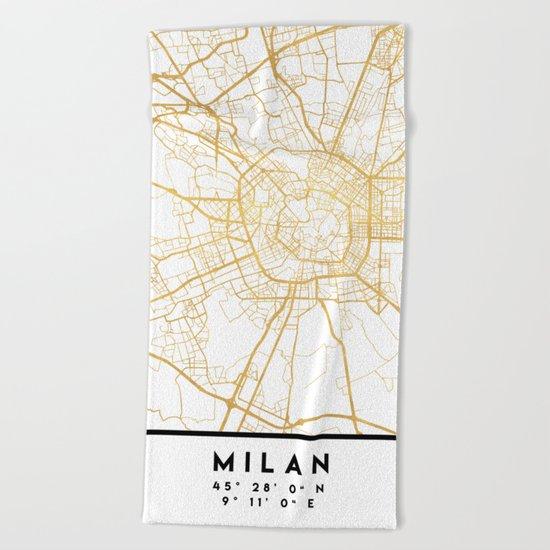 MILAN ITALY CITY STREET MAP ART Beach Towel
