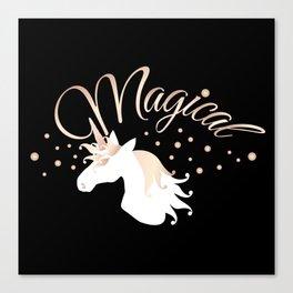 Magical Unicorn Cool Modern Black Canvas Print