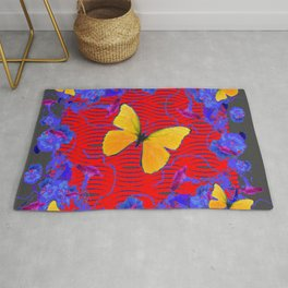 Red & Blue Yellow Butterflies Abstract Rug