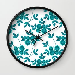 Retro .Turquoise flowers on a white background . Wall Clock