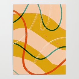 Mid-century modern abstract lines Poster