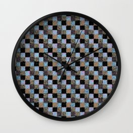 Rustic Brown Multicolored Black Patchwork Wall Clock