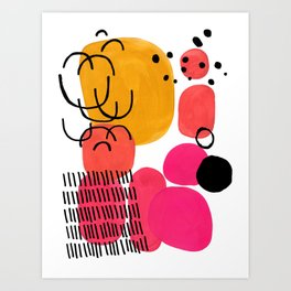 Modern Mid Century Fun Colorful Abstract Minimalist Painting Yellow Pink Bubble Candy Drops Art Print
