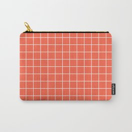 Tomato - pink color - White Lines Grid Pattern Carry-All Pouch