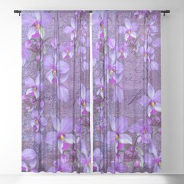 purple orchids on a textured wall Sheer Curtain