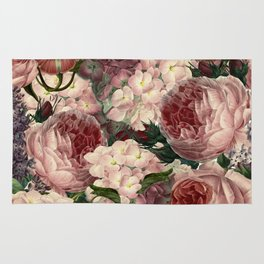 Vintage & Shabby Chic Pink Dark Floral Roses Lilacs Flowers Watercolor Pattern Rug