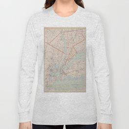 Vintage Map of Westchester County NY (1893) Long Sleeve T-shirt