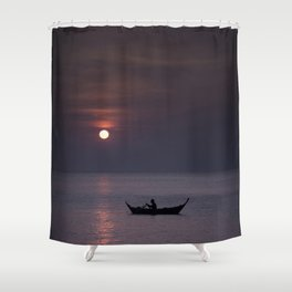Rowing into the sunset Shower Curtain