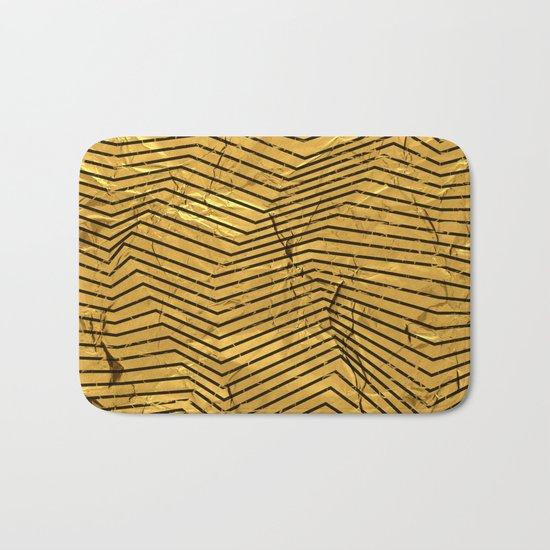Line Gold Pattern Bath Mat