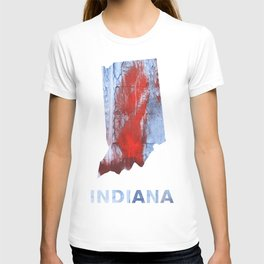 Indiana map outline Red blue steel colorful wash drawing design T-shirt