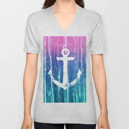 Nautical Anchor Pink Teal Watercolor Stripes Drips Unisex V-Neck