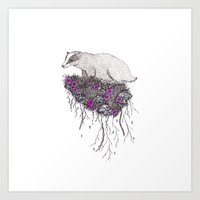 badger Art Prints featuring Badger by samclaire