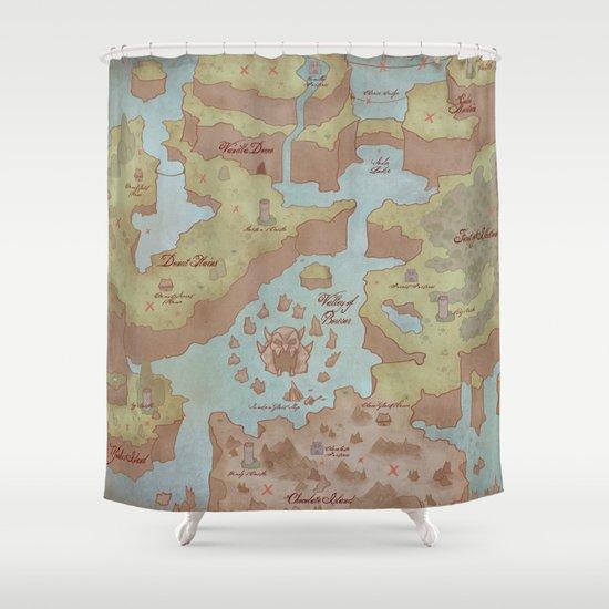 Super Mario World Map Vintage Style Shower Curtain By Kazpalladino