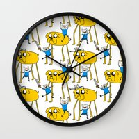 finn and jake Wall Clocks featuring Adventure Time - Jake & Finn by www.Lusy.ink