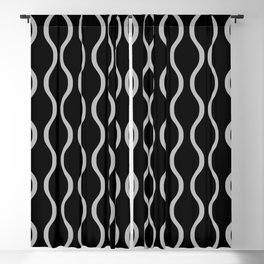 Classic Ogee Stripe Pattern 240 Black and Gray Blackout Curtain