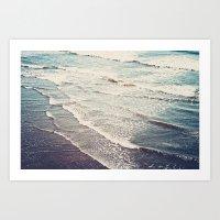 waves Art Prints featuring Ocean Waves Retro by Kurt Rahn