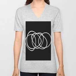 Mid Century Black And White Minimalist Design Unisex V-Neck