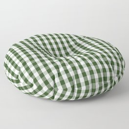 Dark Forest Green and White Gingham Check Floor Pillow