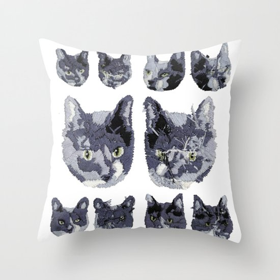 Cat Embroidery Throw Pillow