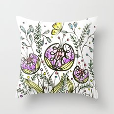 Flowers by Doodling Throw Pillow