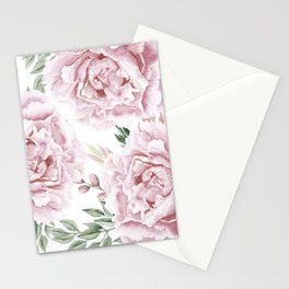 Coral Watercolor Roses Stationery Cards