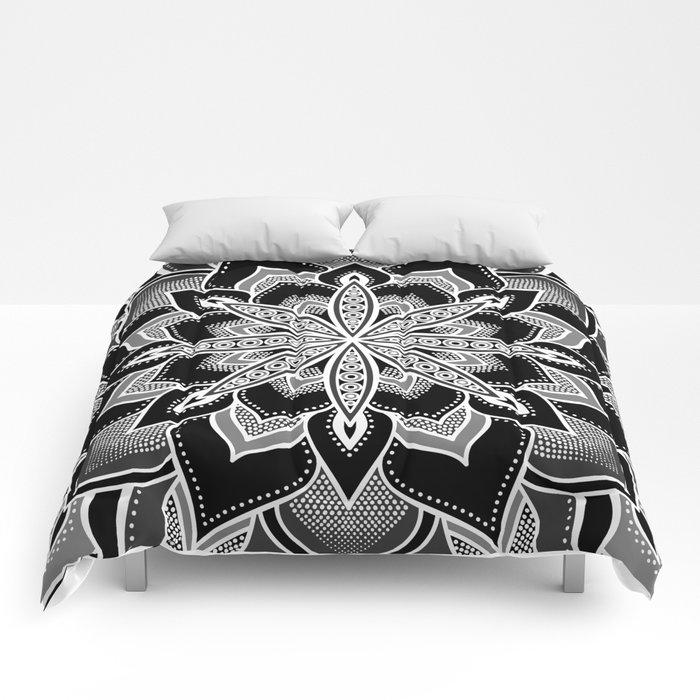 Mandala black gray white flower comforters by vintageappeal623 mandala black gray white flower comforters mightylinksfo