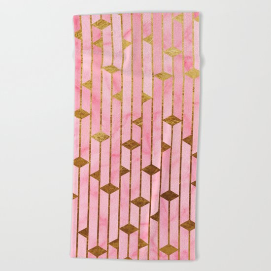 Pink Marble Skyscrapers Beach Towel