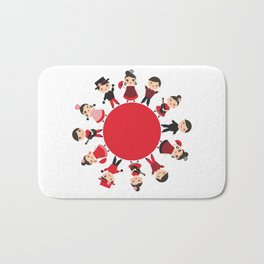 Spanish flamenco dancer. Kawaii cute face with pink cheeks and winking eyes. Gipsy Bath Mat