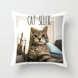 Cat Selfie Throw Pillow