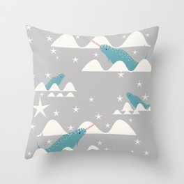 narwhal in ocean grey Throw Pillow