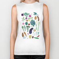 vegetables Biker Tanks featuring Vegetables by The Printed Peanut