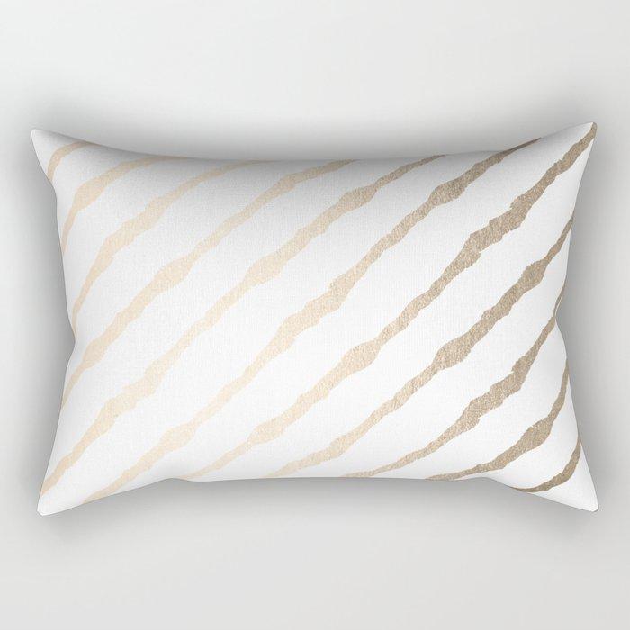 Simply Diagonal Stripes in White Gold Sands on White Rectangular Pillow