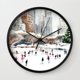 Central Park Ice Skating Art Watercolor Winter Wollman Rink NYC Skyline Wall Clock
