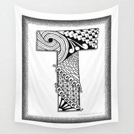 Zentangle T Monogram Alphabet Illustration Wall Tapestry