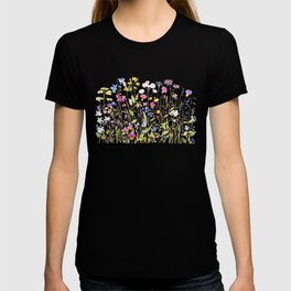 botanical colorful wildflower garden watercolor painting horizontal T-shirt
