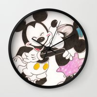 minnie Wall Clocks featuring Mickey & Minnie by karl oconnor