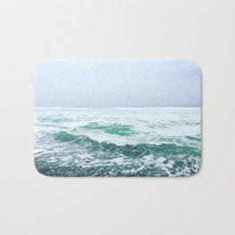 Blue and Green Ocean Waves Bath Mat