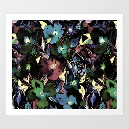 Bedroom Blooms Night Art Print