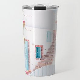 Santorini Greece Mamma Mia Pink House Travel Photography in hd. Travel Mug
